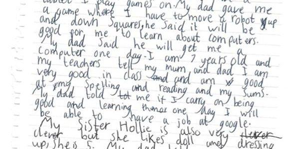 طفلة ابريطانيا تبلغ سبعة سنوات تطالب قوقل بالحصول على وظيفة