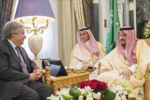 الأمين العام للأمم المتحدة في السعودية وسلمان في إستقباله