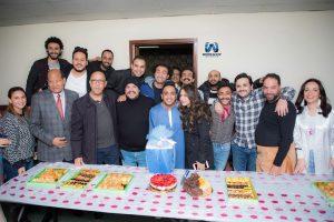 عيد ميلاد أوس أوس فى كواليس مسرح مصر